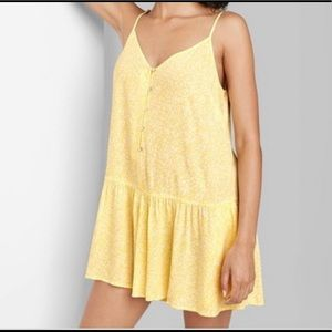 Wild fable yellow button front romper size L